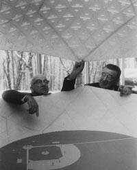 Walter O'Malley inspects a geodesic domed stadium model with architect R. Buckminster Fuller at Princeton University in November 1955.