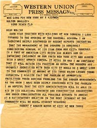 New York Mayor Robert Wagner sent an optimistic telegram to Walter O'Malley on April 1, 1957.