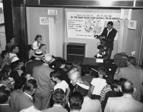 "A ""Proposition B"" referendum on June 3, 1958 threatened the previously approved and signed contract between City of Los Angeles and the Dodgers. Meetings such as this one provided voters with details of the referendum."