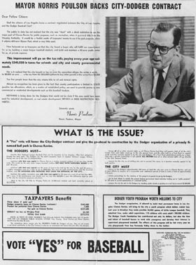 "Los Angeles Mayor Norris Poulson supported the Dodgers in the ""Proposition B"" debate in 1958, as this brochure explains."