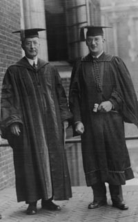 Walter O'Malley (right) graduating with high honors at the University of Pennsylvania on June 16, 1926.