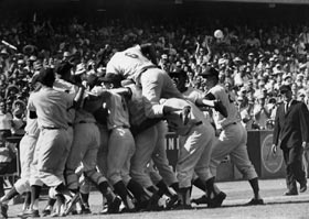 The Dodgers celebrate their first World Series sweep — a stunning four-game triumph against the New York Yankees in 1963.