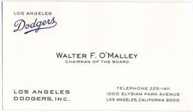 Walter O'Malley's business card as the Dodgers' Chairman of the Board.