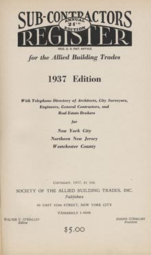 "Walter O'Malley founded, edited and published ""Subcontractors Register."" The 1937 edition is shown."