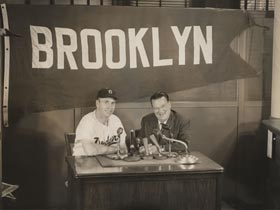Walter Alston and Walter O'Malley appear at the manager's introductory news conference on Nov. 24, 1953.