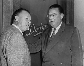 Charlie Dressen and Walter O'Malley following Dressen's departure from the Brooklyn Dodgers after the 1953 season.