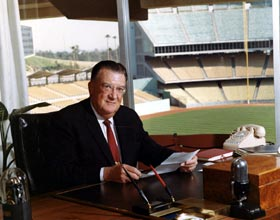 A visionary and business leader, Walter O'Malley works in his office in Dodger Stadium. O'Malley served as Dodger President from Oct. 26, 1950 through March 17, 1970, when he moved to team Chairman of the Board until his passing on Aug. 9, 1979.