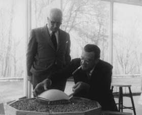Architect and inventor R. Buckminster Fuller worked on fulfilling Walter O'Malley's dream of a multipurpose translucent domed stadium in Brooklyn. Fuller's architecture graduate class at Princeton University prepared models in November 1955 for O'Malley to view.