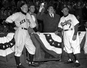 Opening Day at Ebbets Field in 1952 with (l-r) Giants Manager Leo Durocher, Dodger Vice President and General Manager Buzzie Bavasi, President Walter O'Malley and Manager Charlie Dressen.