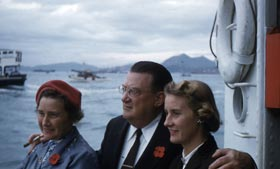 Kay, Walter and Terry O'Malley travel to Hong Kong in 1956.