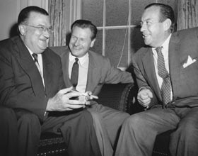(L-R) Walter O'Malley, Nelson Rockefeller and New York Mayor Robert Wagner in 11th hour discussions at Gracie Mansion in New York in September 1957.