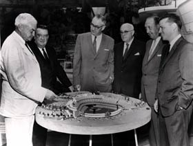 With a model of Dodger Stadium are (l-r) Captain Emil Praeger, Walter O'Malley, Al Vinnell of Vinnell Constructors, Dodger Vice President and stockholder James Mulvey, Vinnell Constructors partner in charge of construction Jack Yount and Dodger Vice President Stadium Operations Dick Walsh.
