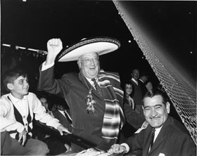 Walter O'Malley dons a sombrero during the Dodgers' 1964 exhibition series in Mexico City.