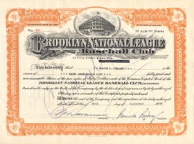 An original Brooklyn Dodger stock certificate issued to Walter O'Malley and signed by Dodger President Branch Rickey on Sept. 25, 1945.