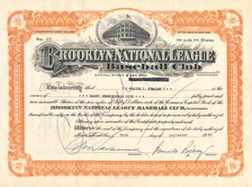 Original Brooklyn Dodgers stock certificate issued to Walter O'Malley and signed by Dodger President Branch Rickey on Sept. 25, 1945. O'Malley and Rickey each owned 25 percent of the Dodger stock in 1945.