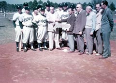 Walter O'Malley is presented the key to Vero Beach, FL as Dodgertown becomes the long term home for spring training activities.