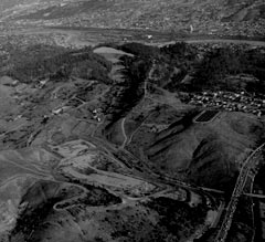 An aerial look at the hilly terrain which would later be used to form Dodger Stadium.