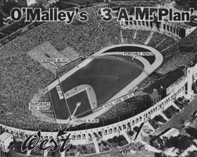 "The ""3 a.m. Plan"" emerges from Walter O'Malley's lack of sleep as he wrestles with options for where the Los Angeles Dodgers would play in the 1958 season. The plan enabled the Los Angeles Memorial Coliseum to be used with minimal disruption for the other tenants. The baseball diamond was to be shoehorned in the closed end of the Coliseum, giving home plate a north-east orientation. The plan called for a short 251-foot fence in left field, but with a 42-foot high screen to prevent an onslaught of home runs."