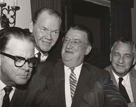 From left, Los Angeles Mayor Norris Poulson, Los Angeles Examiner columnist Vincent X. Flaherty, Walter O'Malley and Hollywood producer Mervyn LeRoy. Flaherty was one of the staunchest supporters of bringing Major League Baseball to the West Coast, as he began corresponding with O'Malley in 1953.