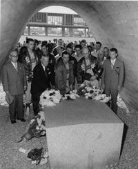 The Dodgers visit a memorial and dedicate a plaque at the entrance to the new ballpark in Hiroshima.