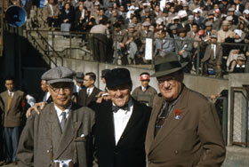 Japanese sportswriter Sotaro Suzuki, Hall of Fame umpire Jocko Conlan and Walter O'Malley.