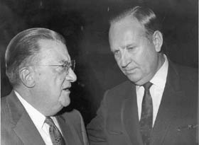 Walter O'Malley and Los Angeles Angels Owner Gene Autry discuss a compromise that had been reached to allow the new American League team to play in Los Angeles in 1961. The Dec. 8, 1960 owners' meeting was held in St. Louis.