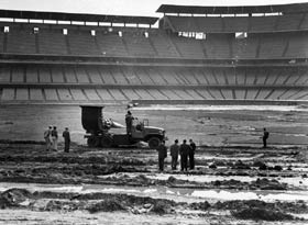 Heavy rains in February 1962 prompted creative methods of drying the playing surface at Dodger Stadium, including bringing an Allison jet airplane engine from an F-84 fighter plane mounted on a truck.