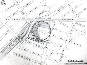 Walter O'Malley favored a proposed stadium site at the intersection of Atlantic and Flatbush Avenues.