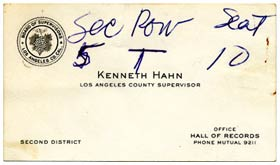 During the 1956 World Series, Los Angeles County Supervisor Kenneth Hahn delivered his business card to Walter O'Malley.
