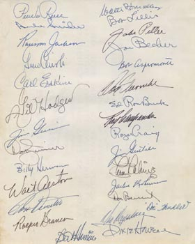 A collection of Brooklyn Dodger autographs of players, coaches and executives who were part of the 1956 goodwill tour of Japan.