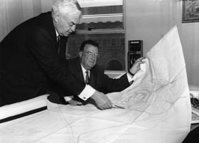 Captain Emil Praeger and Dodger President Walter O'Malley worked together for more than a decade, designing and planning potential sites for the Dodgers' new ballpark. Capt. Praeger and O'Malley also designed Holman Stadium in Vero Beach, FL in the early 1950s.