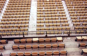 The American Seating Company was the only subcontractor unaffiliated with Vinnell Construction. If placed side by side, the multi-colored seats would form a continuous row of more than 33 miles long.