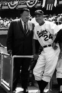 Walter O'Malley and Manager Walter Alston are ready for the opening of Dodger Stadium on April 10, 1962.