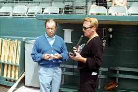 Broadcasters Jerry Doggett and Vin Scully were together in the Dodger booth for 32 years from 1956-87.
