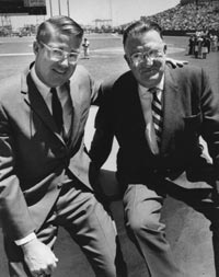 Peter and Walter O'Malley at San Francisco's Candlestick Park in 1966.