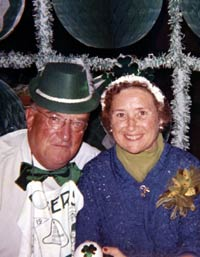 Walter and Kay O'Malley enjoy a St. Patrick's Day party at Vero Beach, FL in 1953.
