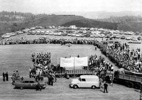 Groundbreaking ceremonies for Dodger Stadium are held on Sept. 17, 1959 with hundreds of onlookers.