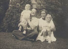 Kay and Walter O'Malley with their two children, Peter and Terry, circa 1939.