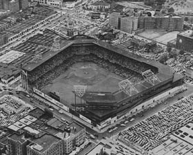 An aerial view of Ebbets Field, which could park 700 cars in the scattered lots surrounding the aging ballpark.