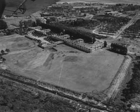 Dodgertown aerial view showing the old two-story barracks at the former U.S. Naval Air Station. Walter O'Malley worked on a series of improvements to develop the spring training site in Vero Beach, FL beginning in the spring of 1951, his first year as Dodger President.