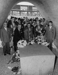 "On their fall 1956 goodwill trip to Japan, the Dodgers were invited to visit Hiroshima. The Dodger organization presented a plaque to Japanese officials which stated in part, ""May their souls rest in peace and with God's help and man's resolution peace will prevail forever."""