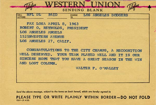 Telegram from Walter O'Malley to Robert O. Reynolds