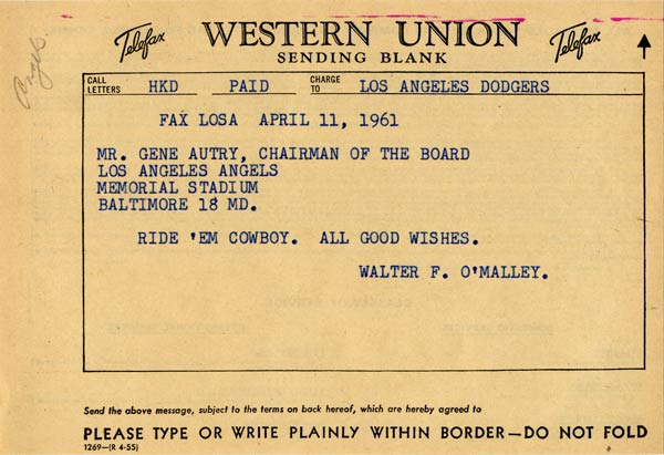 Telegram from Walter O'Malley to Gene Autry
