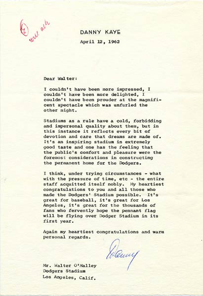 Letter from Danny Kaye to Walter O'Malley