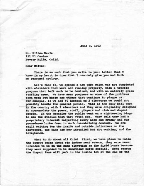 Letter from Walter O'Malley to Milton Berle