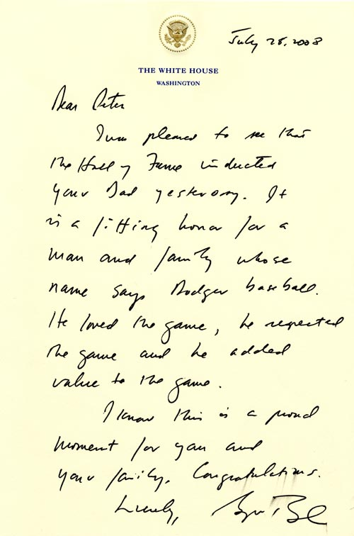 Letter from President George W. Bush to Peter O'Malley