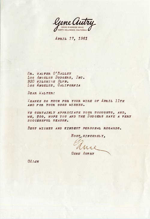 Letter from Gene Autry to Walter O'Malley