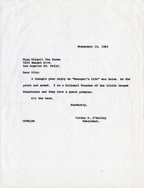 Letter from Walter O'Malley to