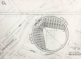 The blueprints for a circular-shaped ballpark in Brooklyn, which replace the unique dimensions of Ebbets Field.