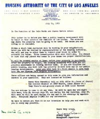 "This July 24, 1950 letter from the Housing Authority of the City of Los Angeles outlines for residents a proposed ""public housing project"" which will be built on the site, as well as the appraisal process and the fact that their property will be purchased."